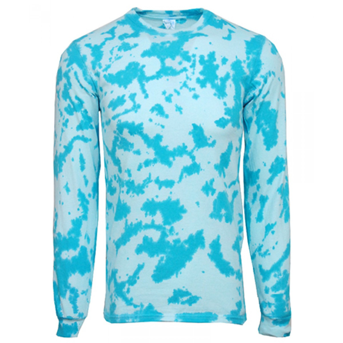 Tie-Dye Long Sleeve Shirts-Blue-YM