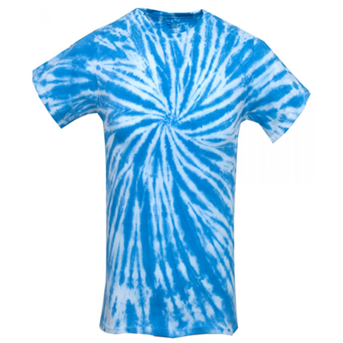Tie-Dye Short Sleeve Shirts-White/Blue-YM