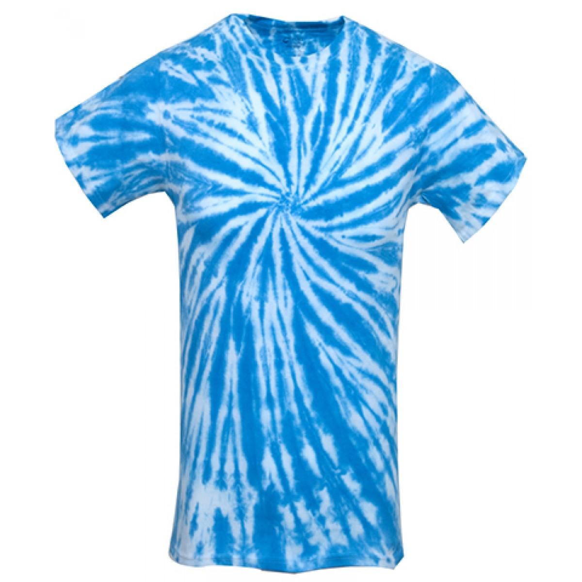 Tie-Dye Short Sleeve Shirts-White/Blue-YM