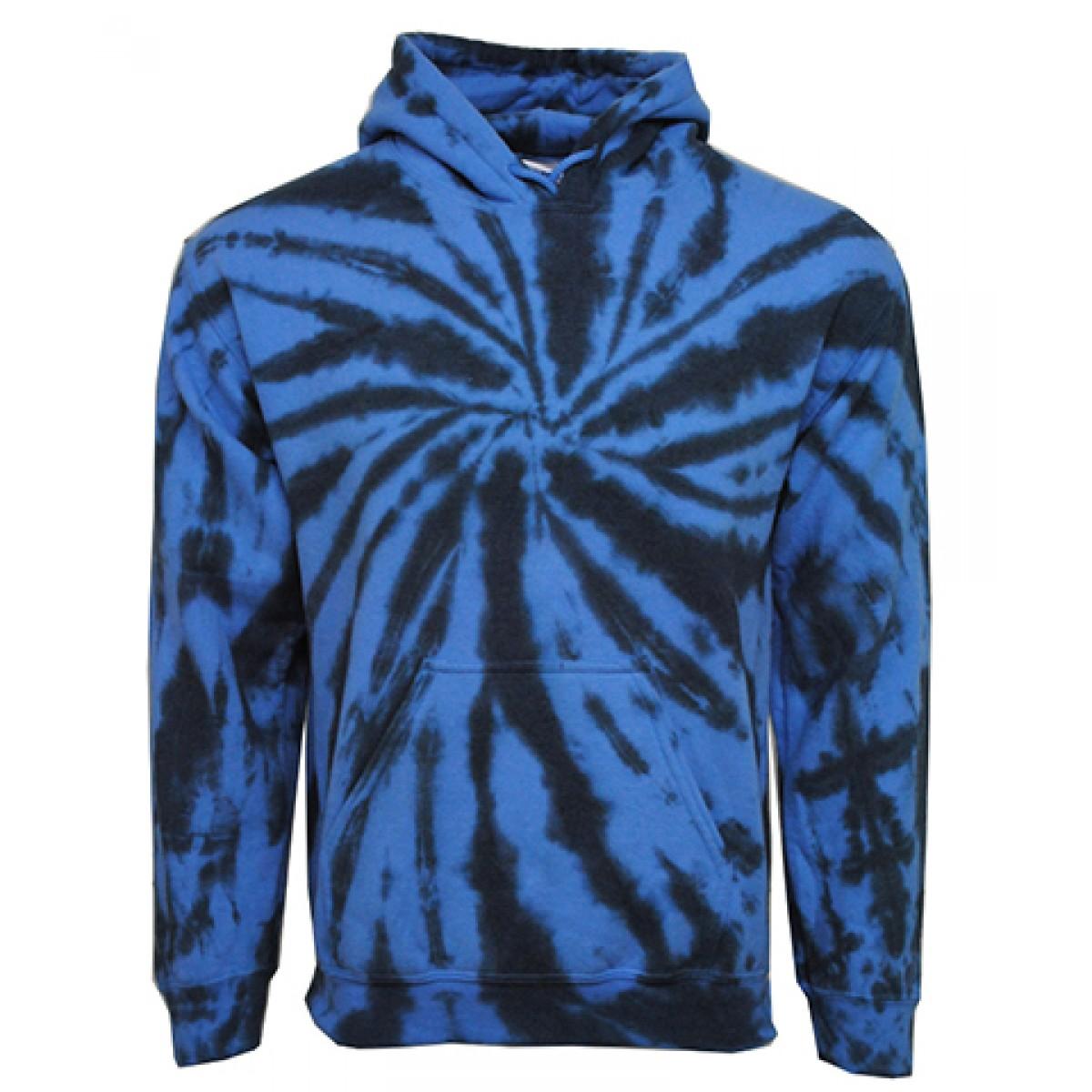 Tie die Hooded Sweatshirt  50/50 Heavy Blend-Blue-S