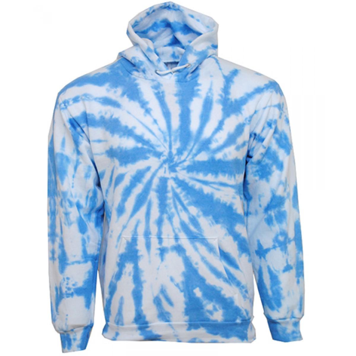 Tie die Blue Hooded Sweatshirt  50/50 Heavy Blend