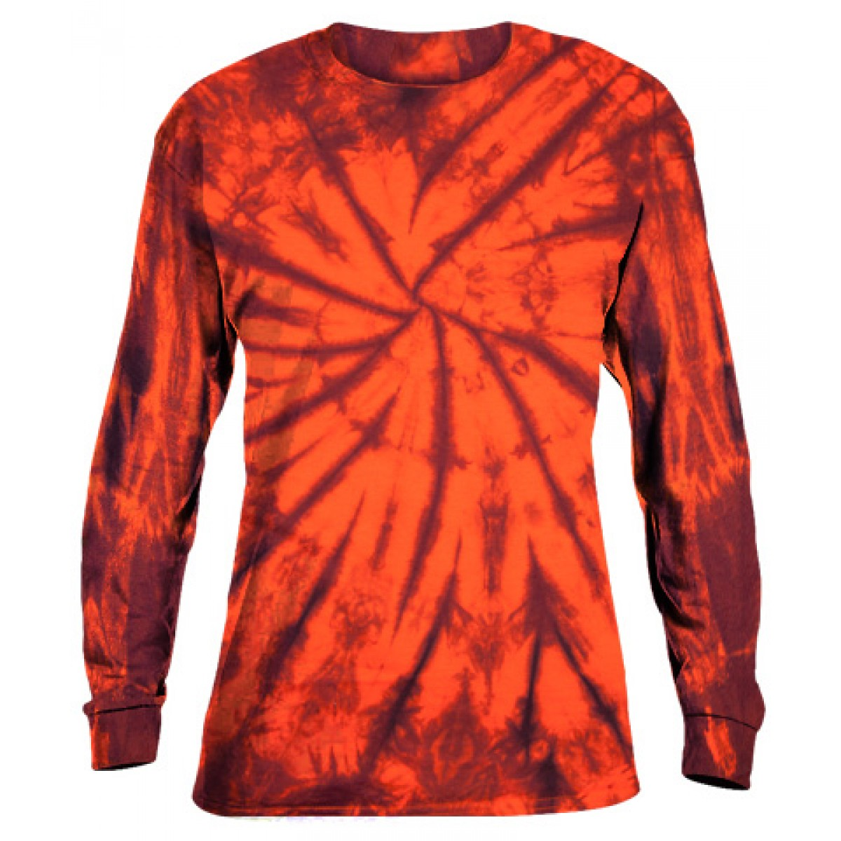 Tie-Dye Long Sleeve Shirt -Fall Orange -L
