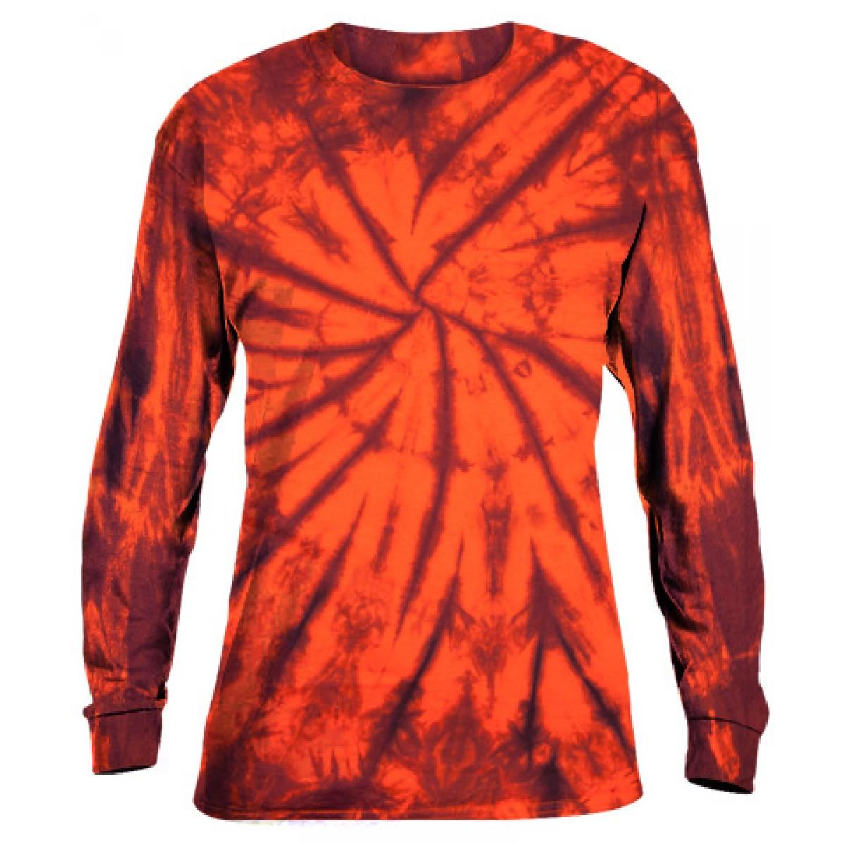 Tie-Dye Long Sleeve Shirt -Fall Orange -3XL