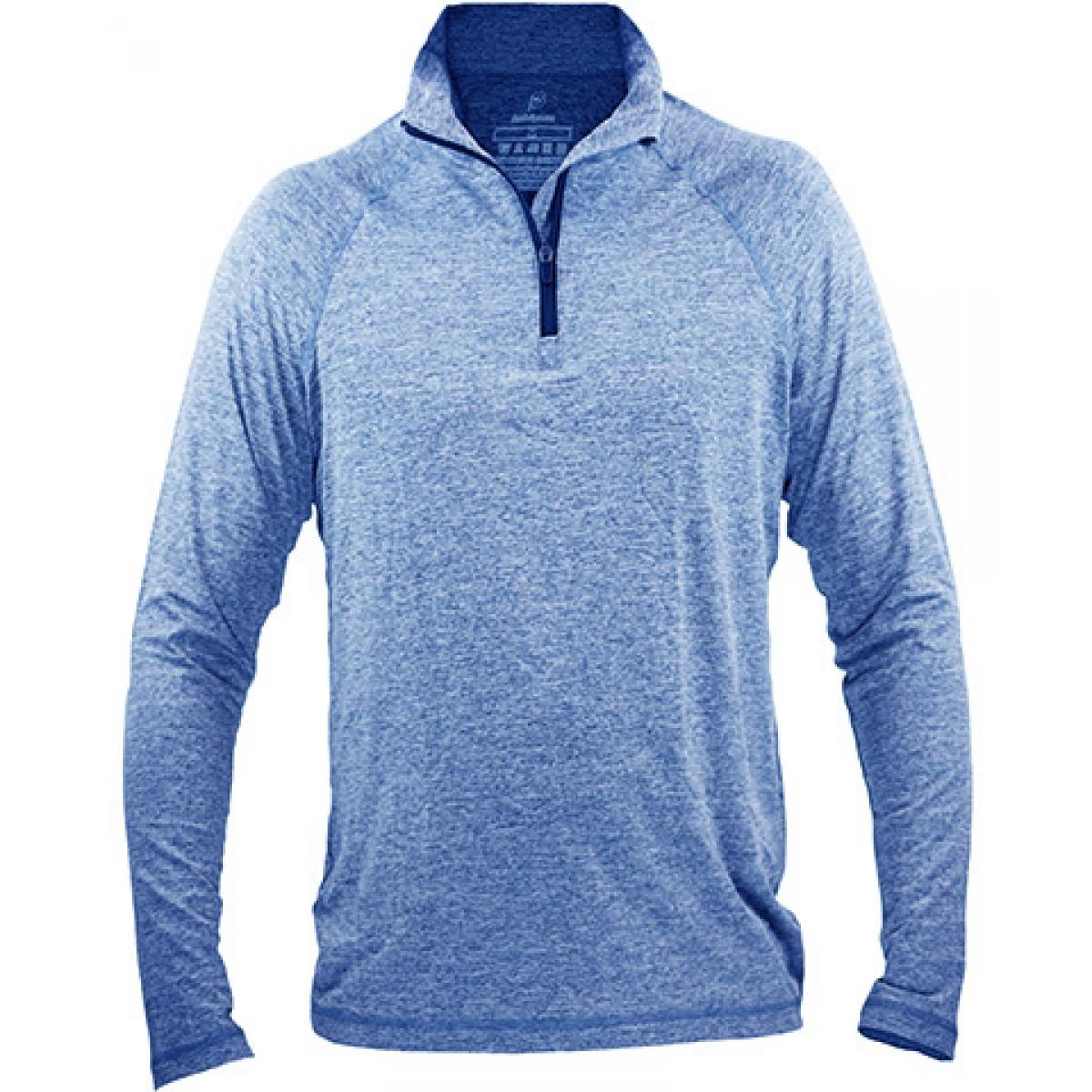 Fine Designs Blend 1/4-Zip Pullover-Blue-XL