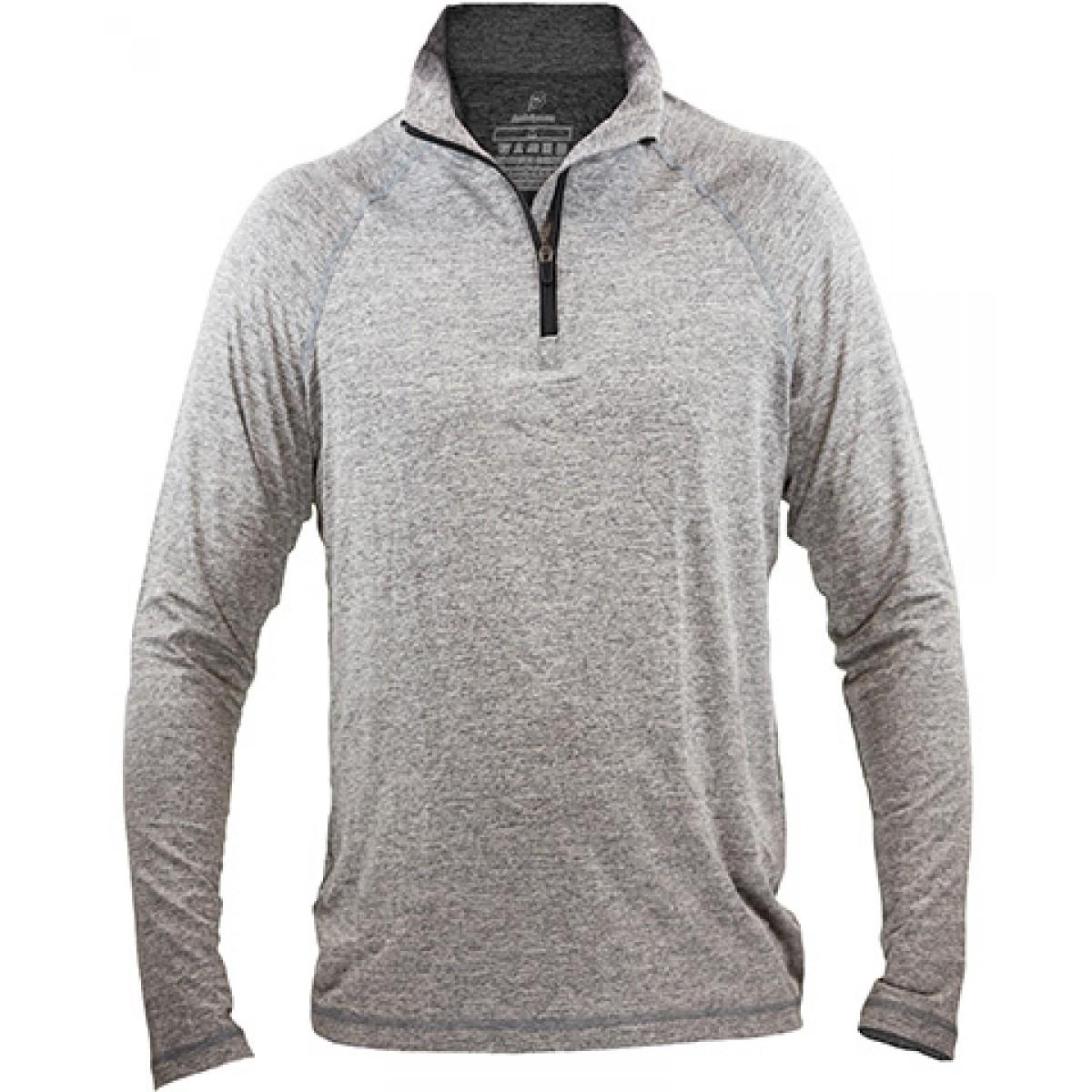 Fine Designs Blend 1/4-Zip Pullover-Gray -XL