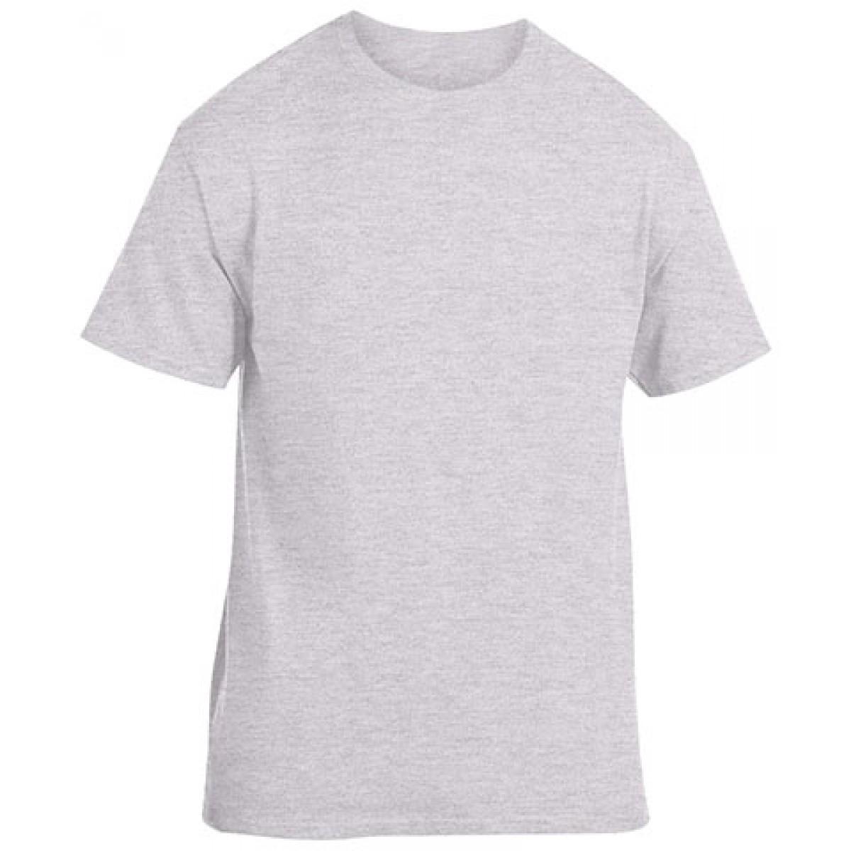 Cotton Short Sleeve T-Shirt-Sports Grey-YL