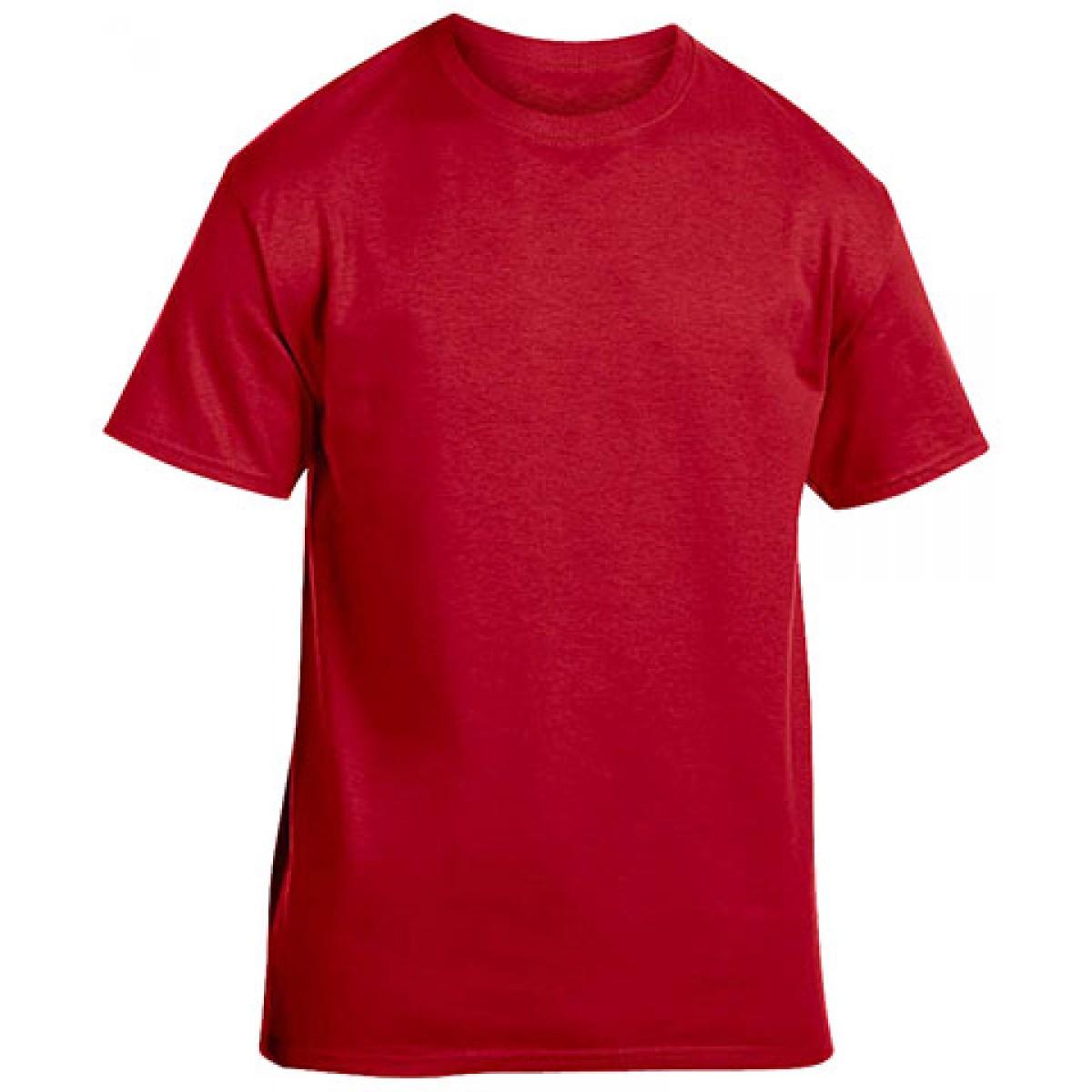 Cotton Short Sleeve T-Shirt-Cardinal Red-XL