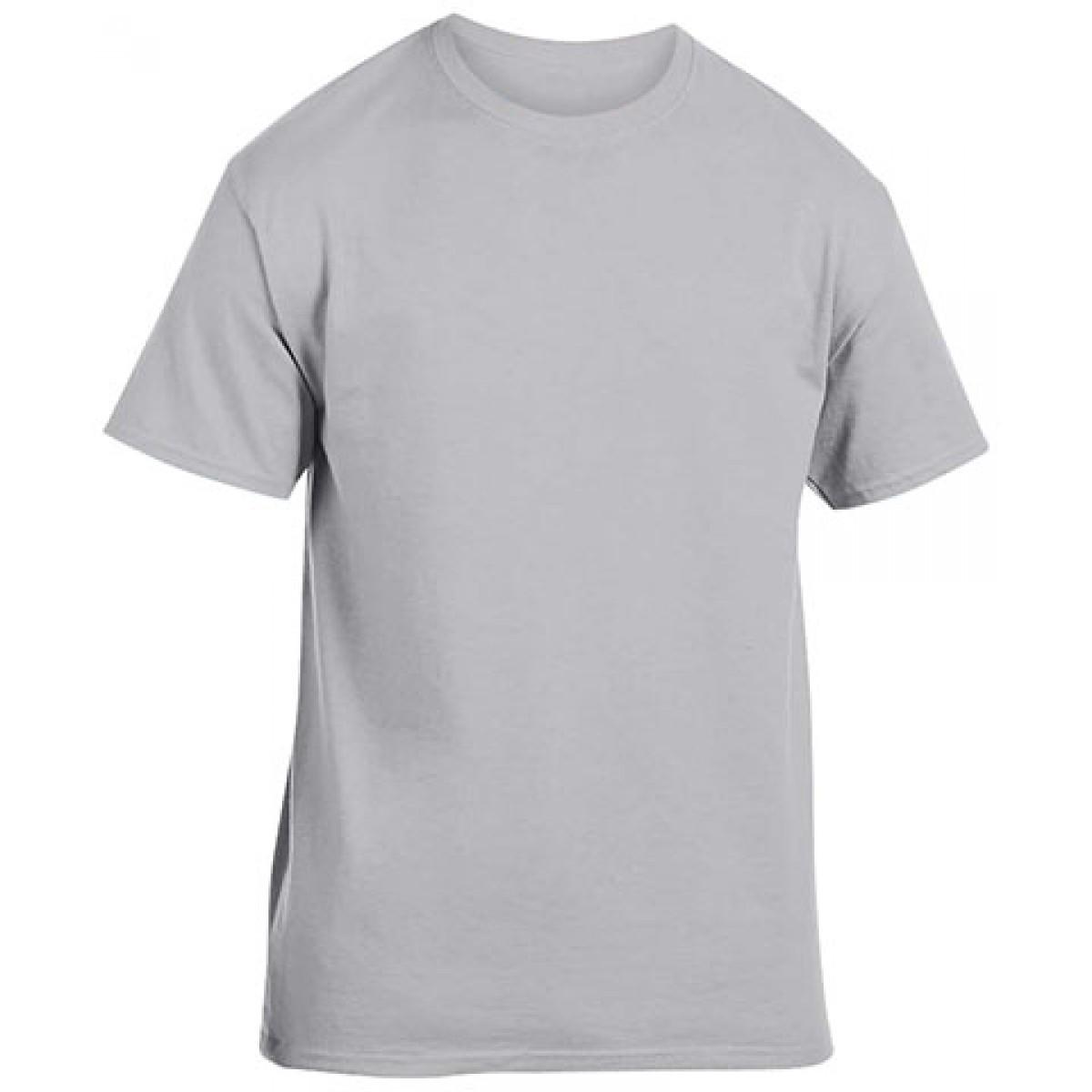 Cotton Short Sleeve T-Shirt-Gray-YL