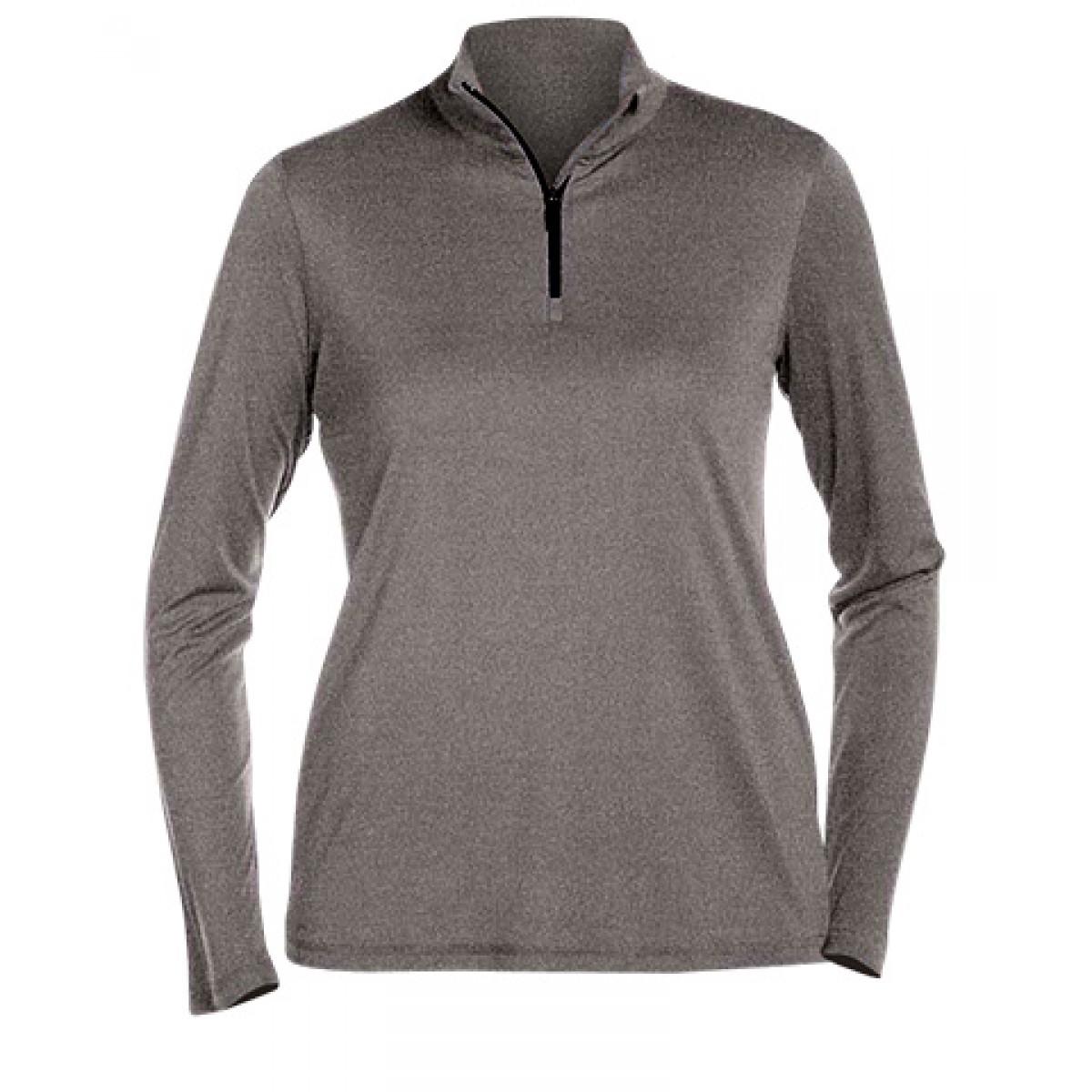 Ladies' Quarter-Zip Lightweight Pullover-Sports Grey-2XL