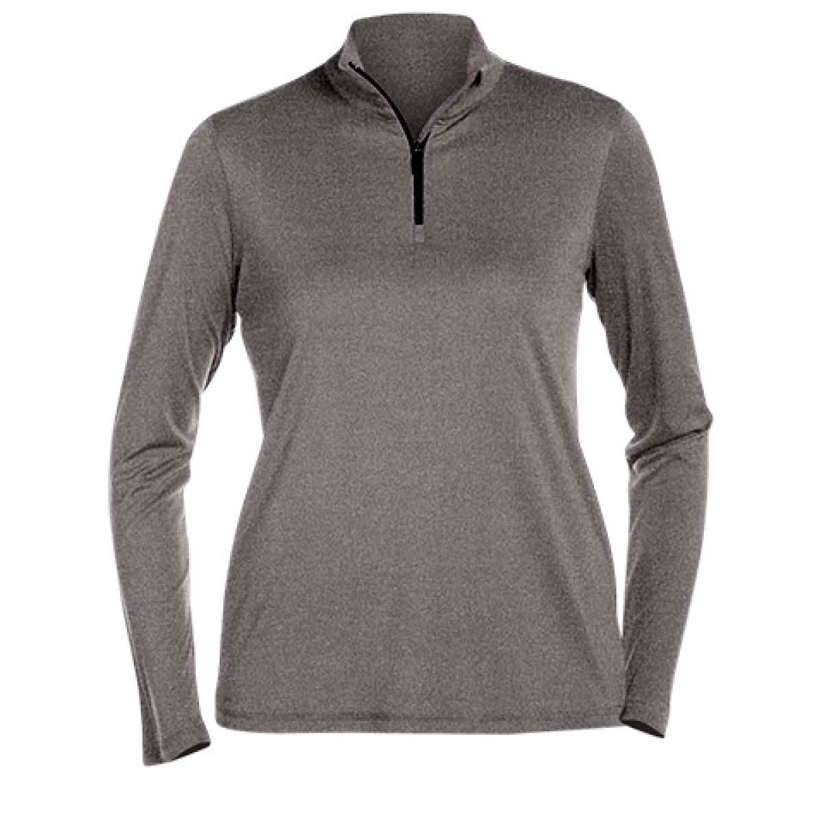 Ladies' Quarter-Zip Lightweight Pullover-Sports Grey-XL