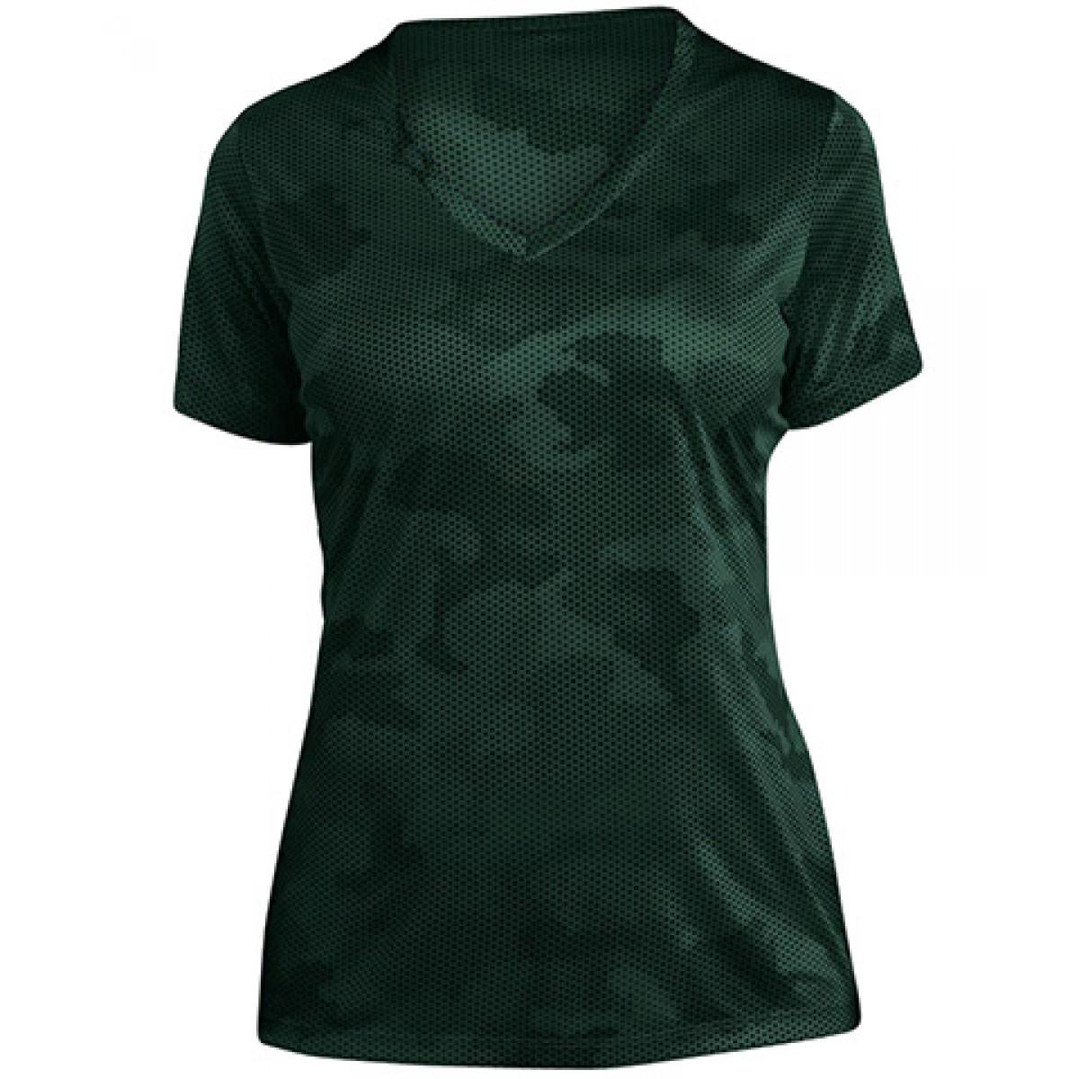 Ladies CamoHex V-Neck Tee-Green-2XL