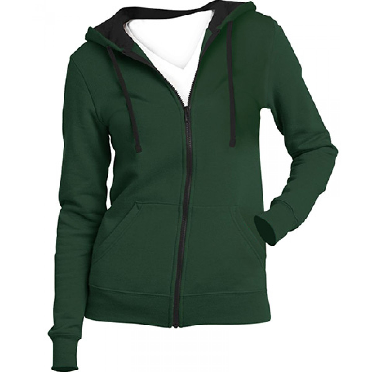 Juniors Full-Zip Hoodie-Green-L