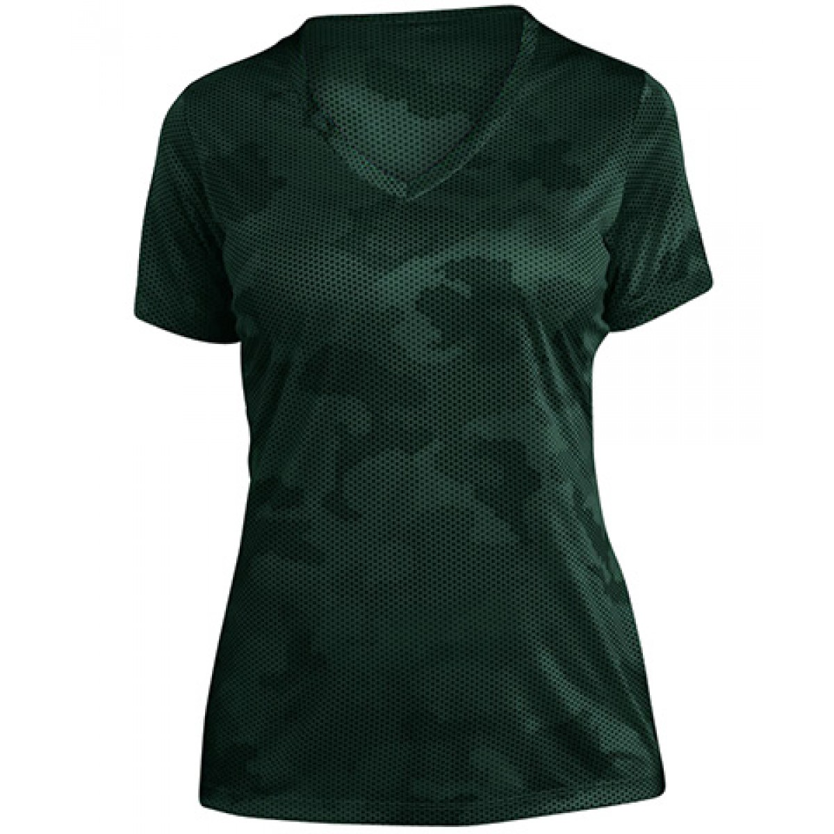 Ladies CamoHex V-Neck Tee-Green-M