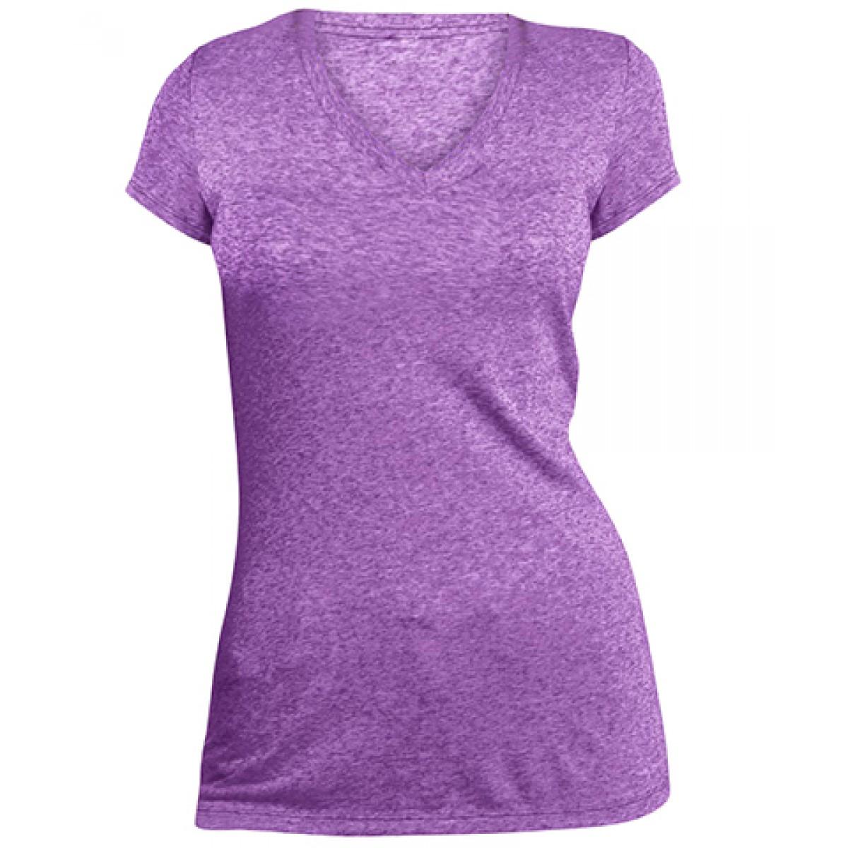 Juniors Microburn™ V-Neck Cap Sleeve Tee-Purple-XS