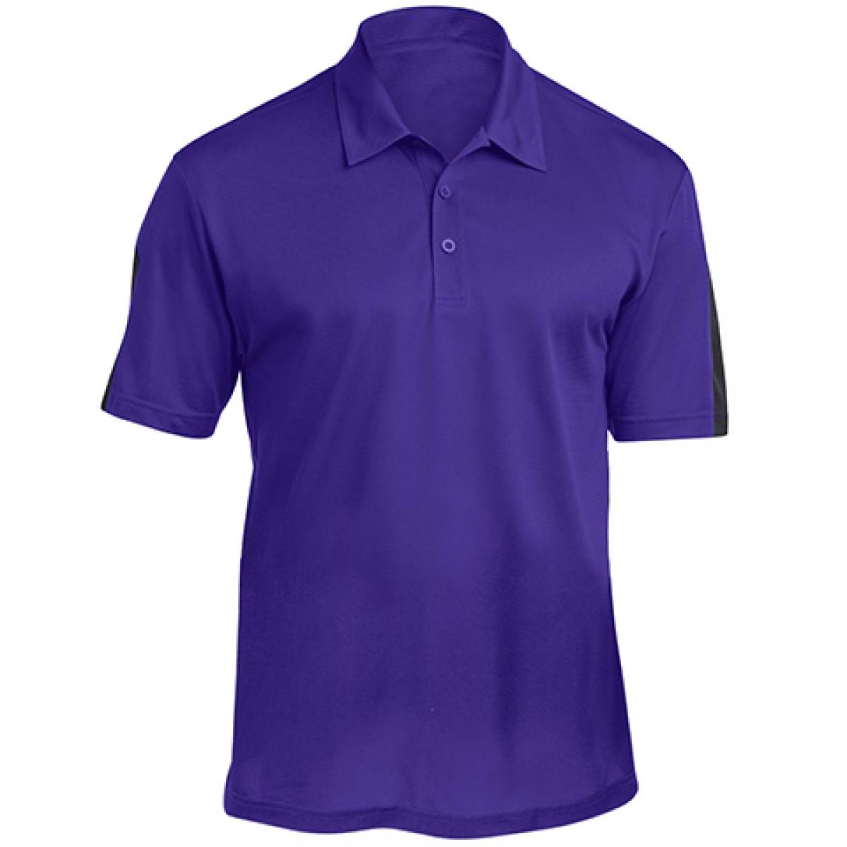 Textured Colorblock Polo-Purple/Black-XL