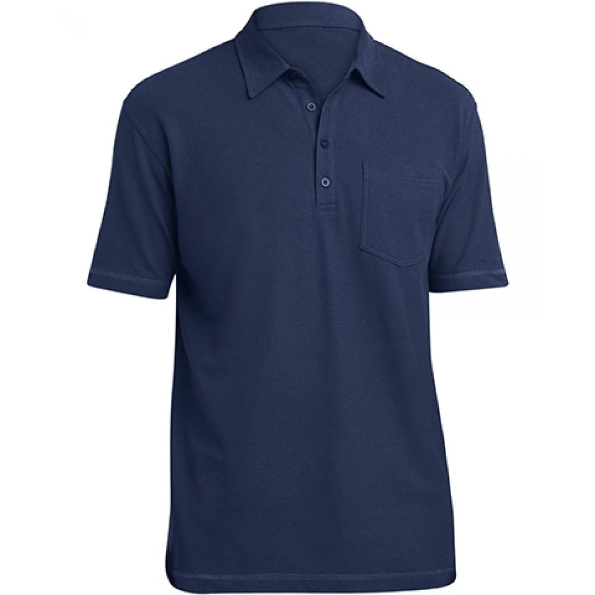 Modern Style Pocket Polo-Royal Blue-2XL