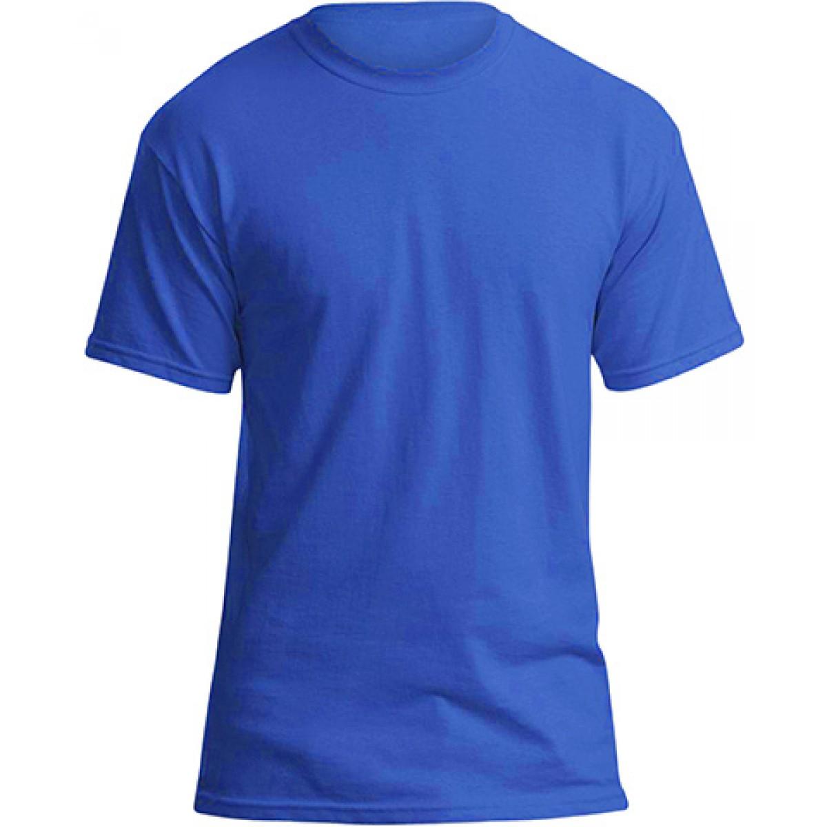 Soft 100% Cotton T-Shirt-Royal Blue-3XL