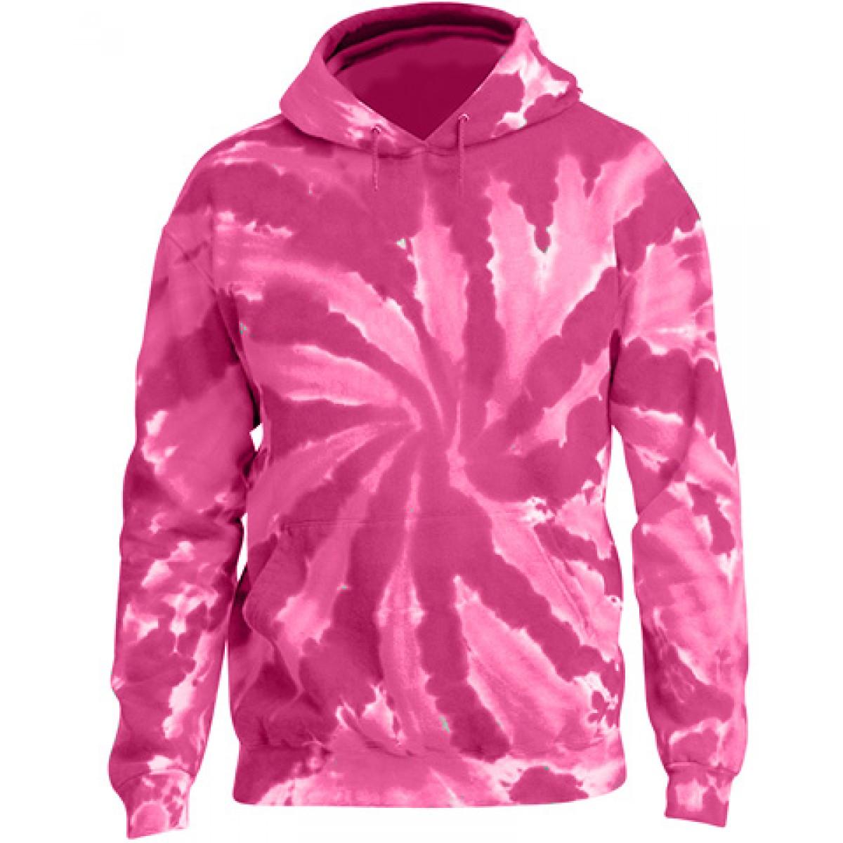 Tie-Dye Pullover Hooded Sweatshirt-Pink-M