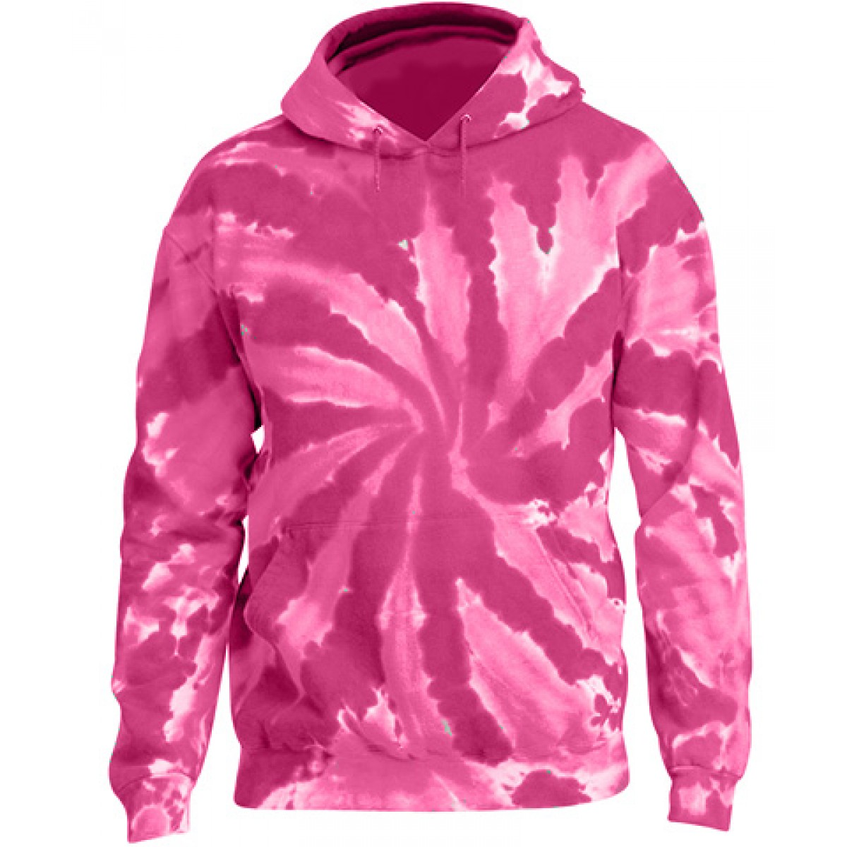 Tie-Dye Pullover Hooded Sweatshirt-Pink-XL