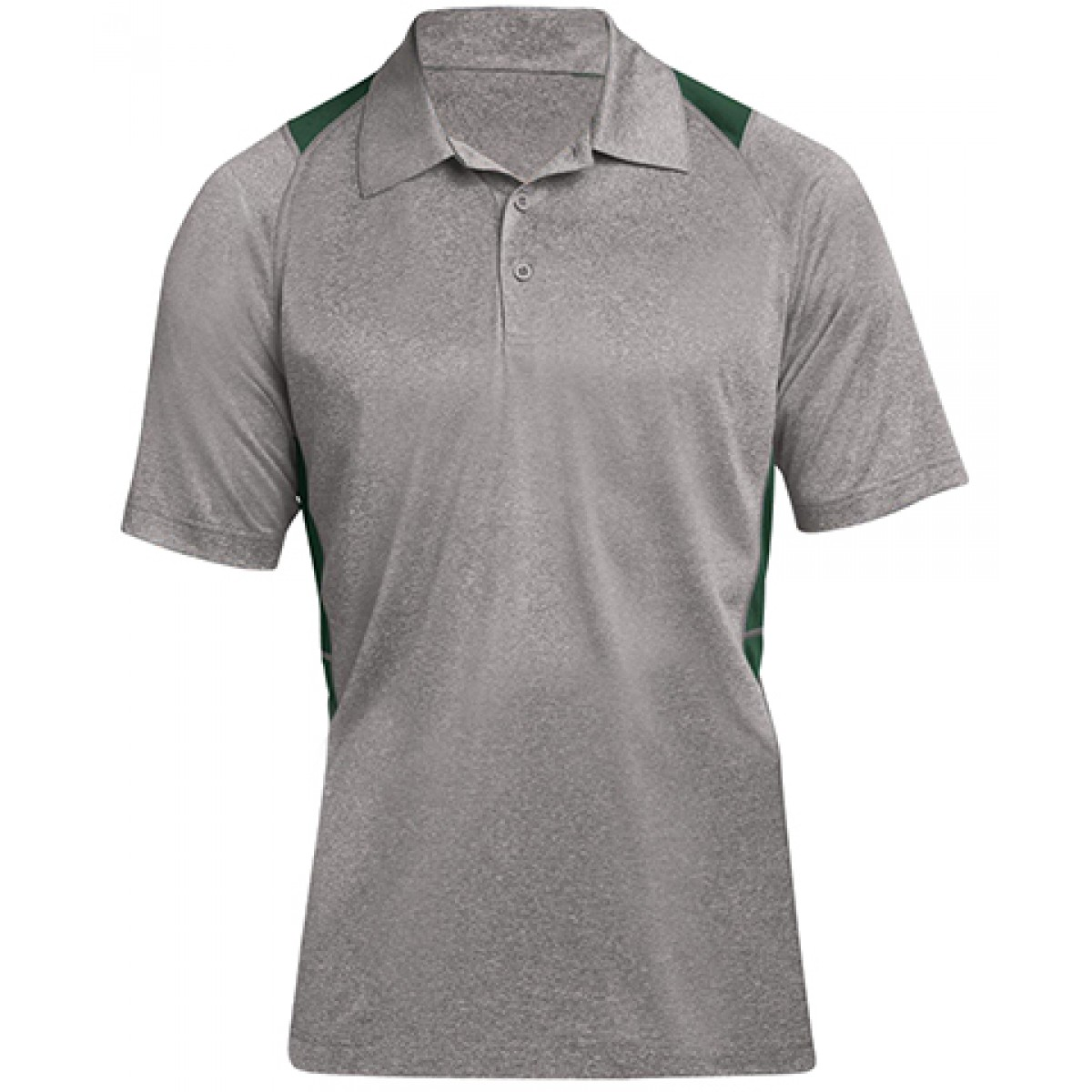 Heather Colorblock Contender Polo-Gray/Green-2XL