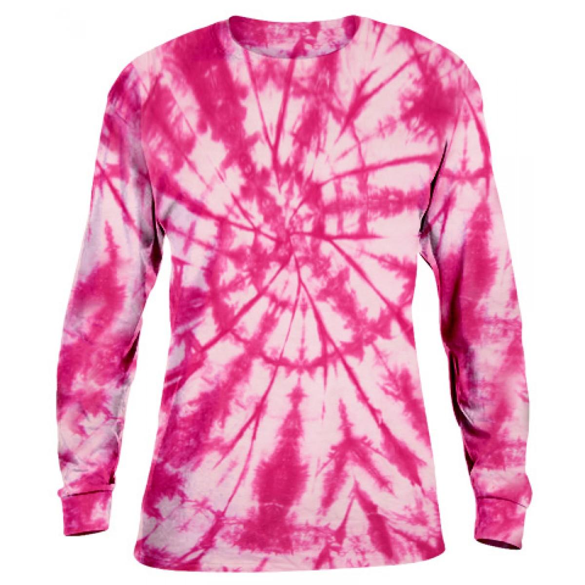 Tie-Dye Long Sleeve Shirt -Fuscia-YL