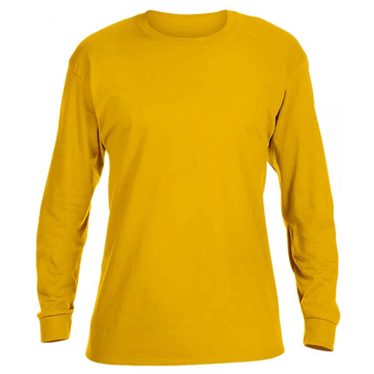 Heavy Cotton Long-Sleeve Adidas Shirt-Gold-L