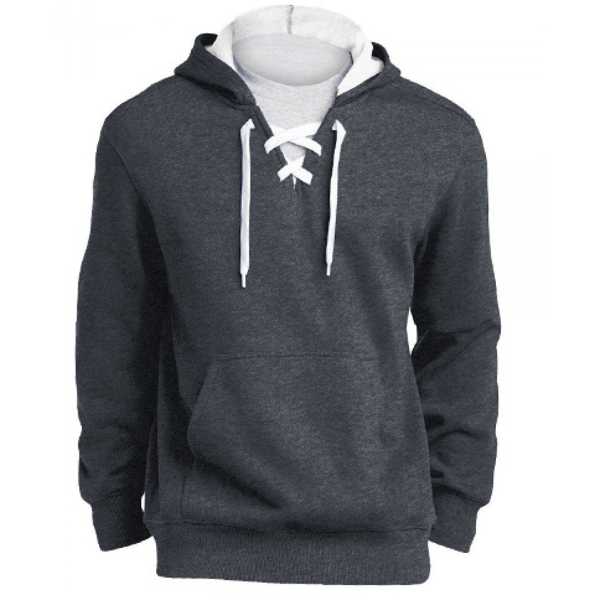 Lace Up Pullover Hooded Sweatshirt-Charocal-S