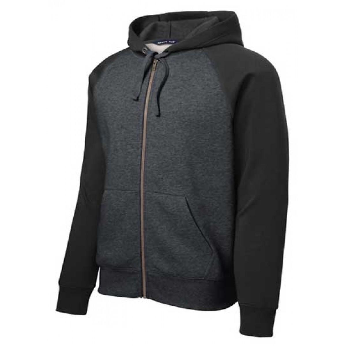 Raglan Colorblock Full-Zip Hooded Fleece Jacket