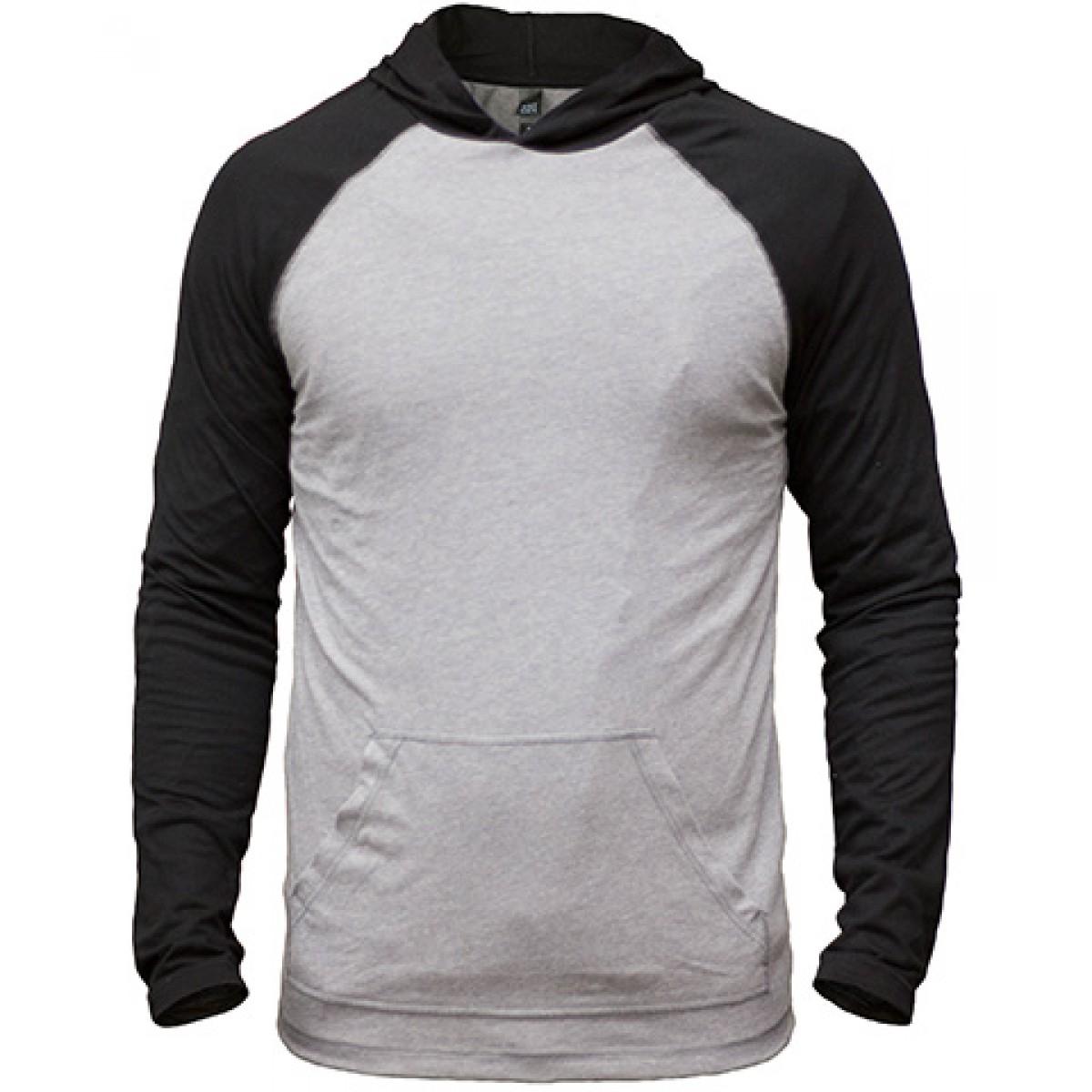 50/50 Raglan Hoodie-Gray/Black-L