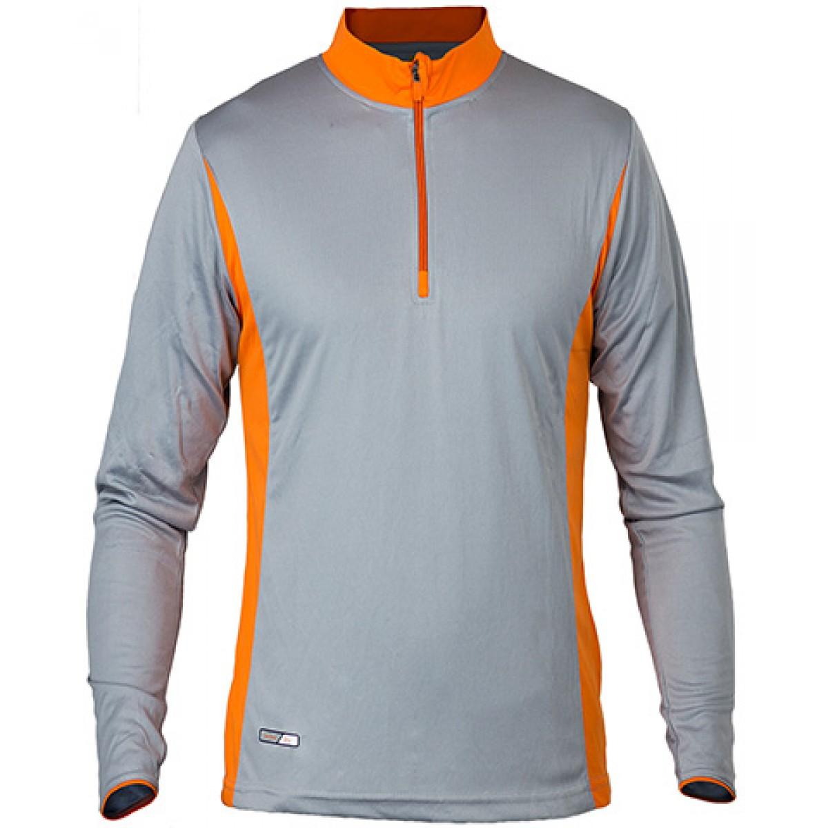 Long Sleeves 3/4 Zip Performance With Side Insert-Neon Orange -M