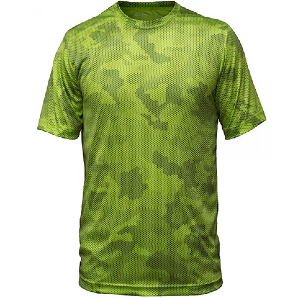 Sport-Tek CamoHex Tee-Green-XS