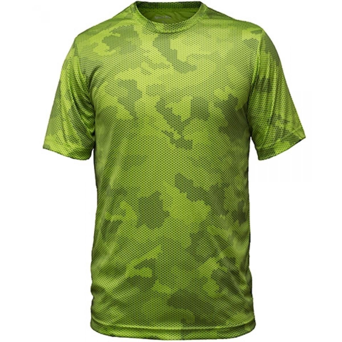 Camo Short Sleeve-Green-YL
