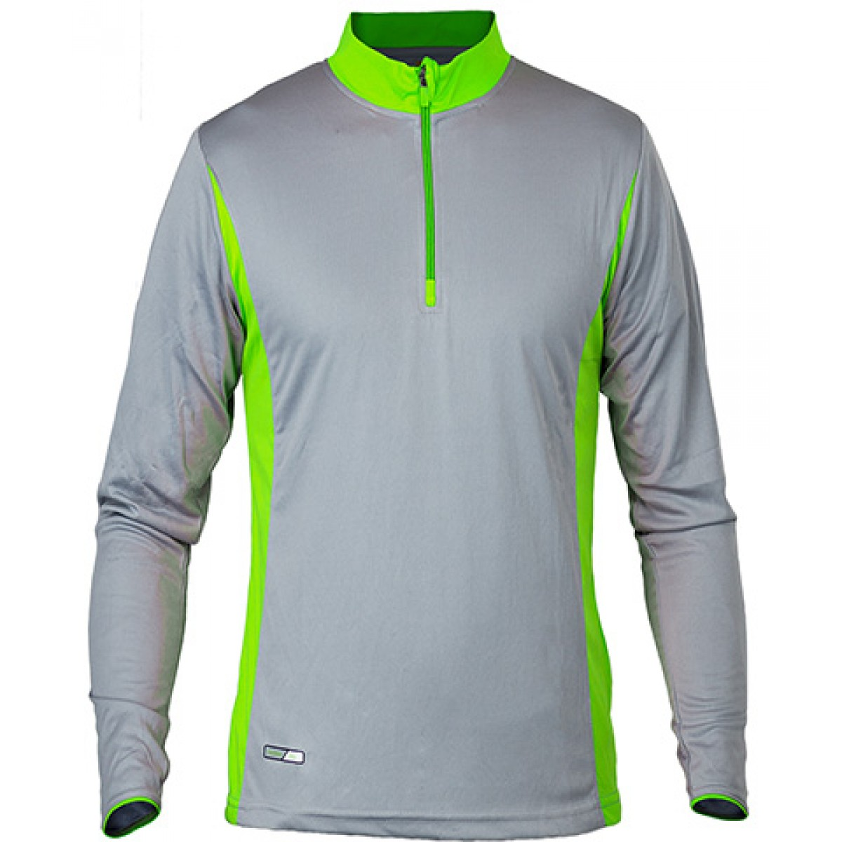 Long Sleeves 3/4 Zip Performance With Side Insert-Neon Green-2XL