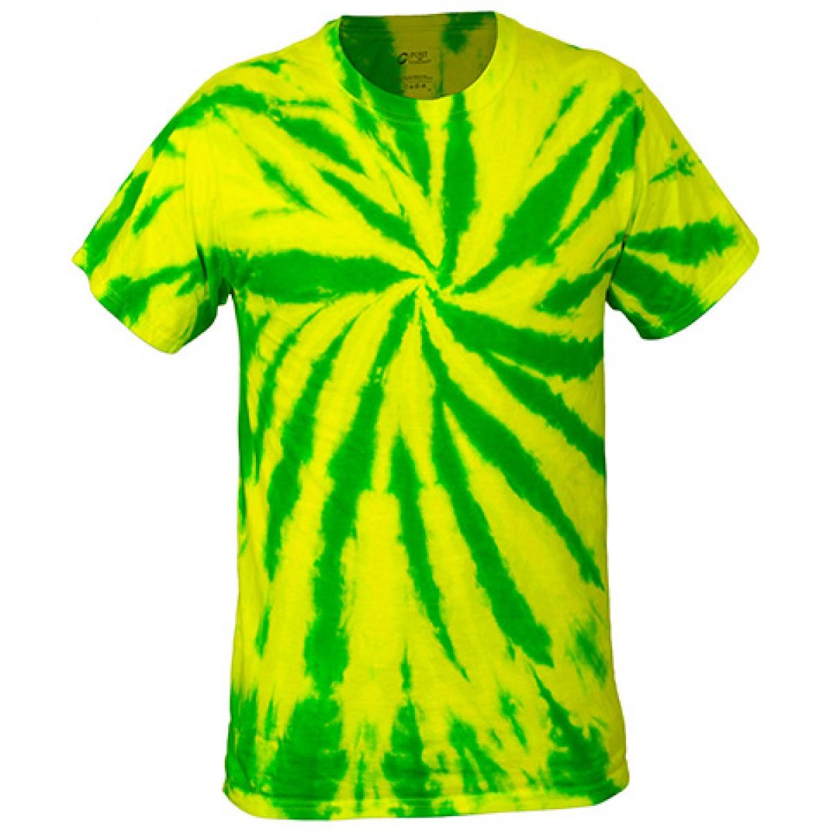 Multi-Color Tie-Dye Tee -Neon Green-3XL