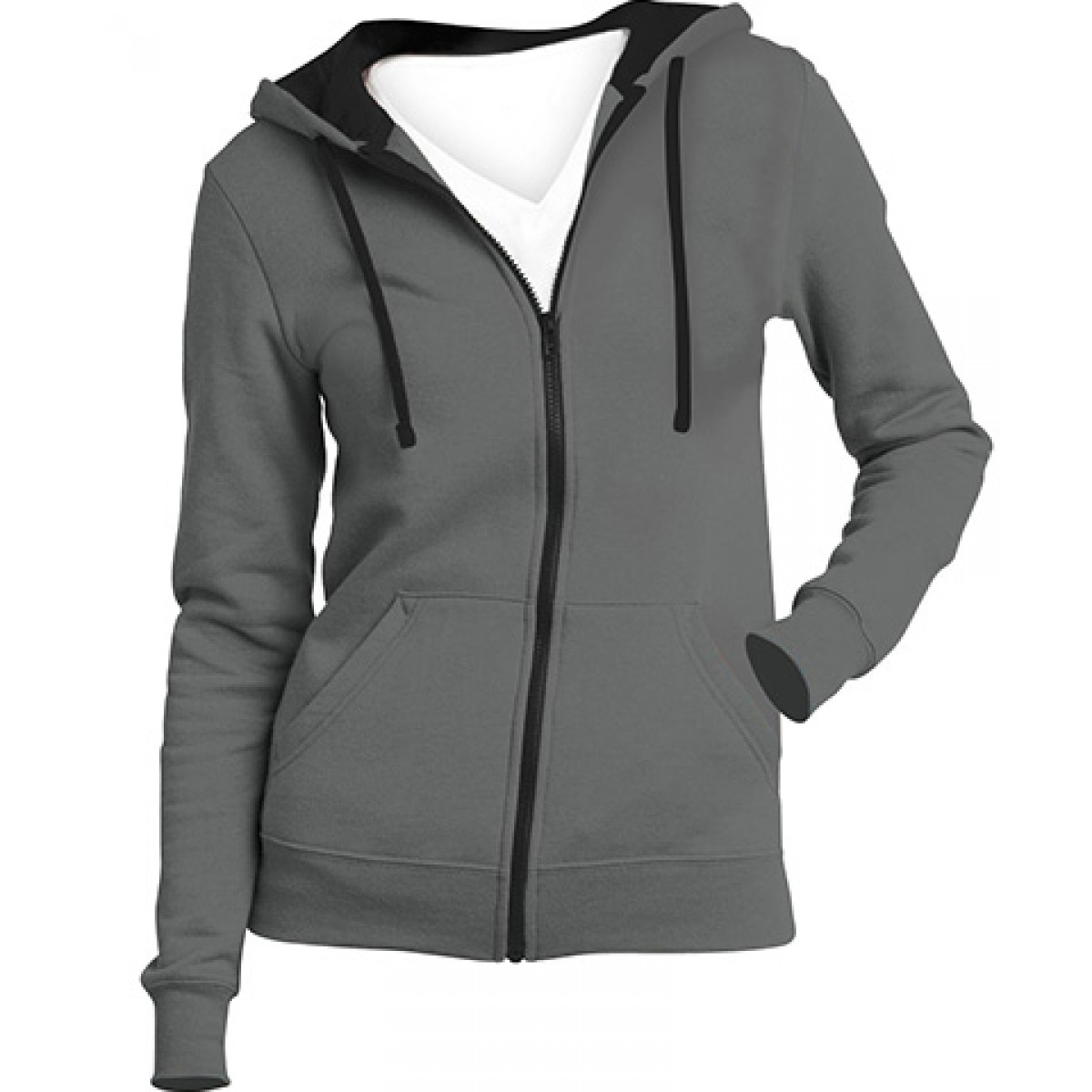 Juniors Full-Zip Hoodie-Gray -L