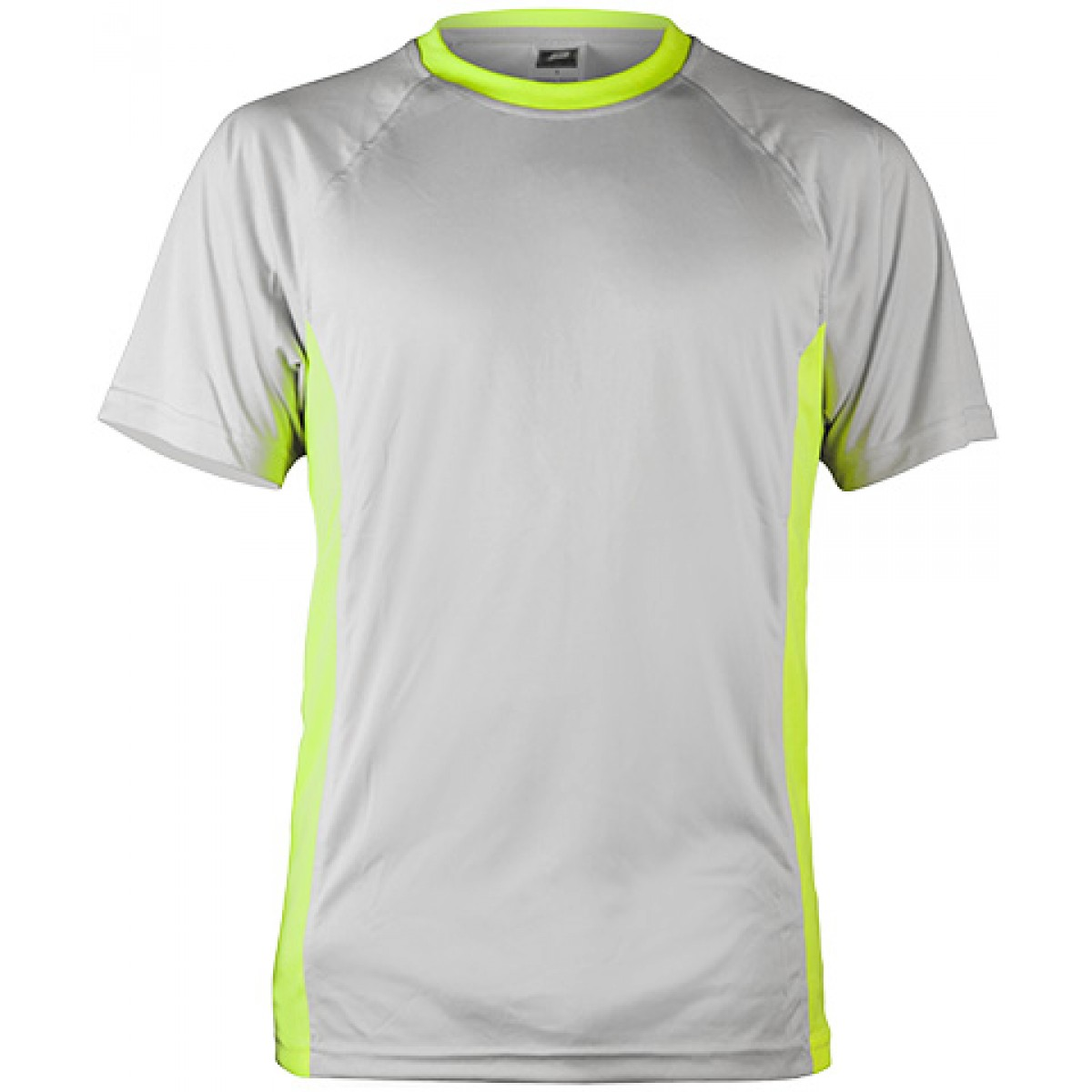 Short Sleeve Performance Fit with Flat-back Mesh Side Insert-Gray/Green-YL