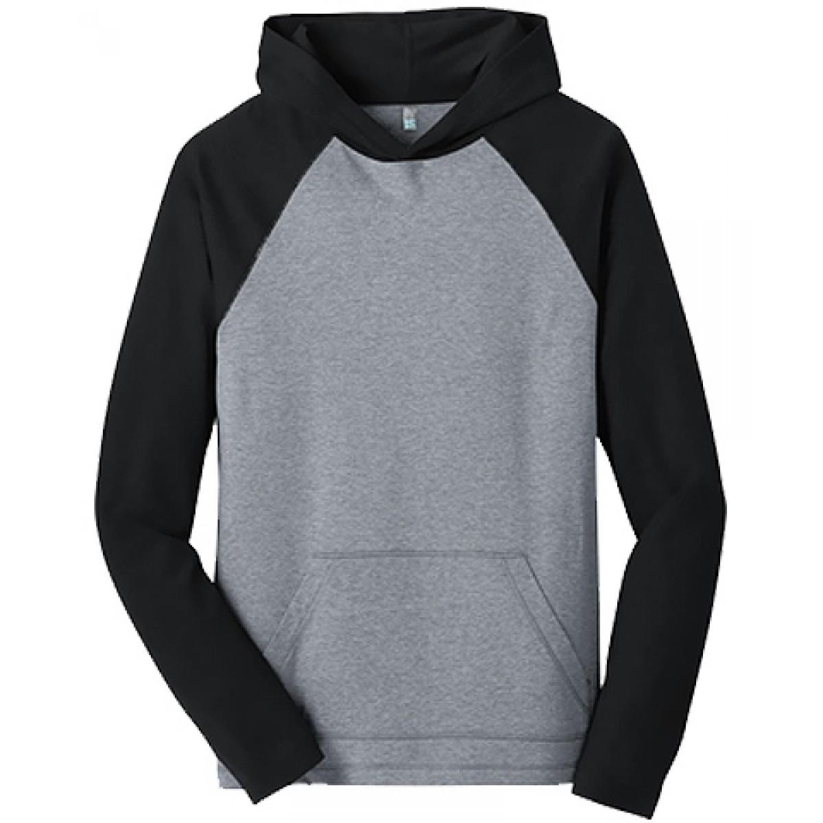 50/50 Raglan Hoodie-Gray/Black-XL