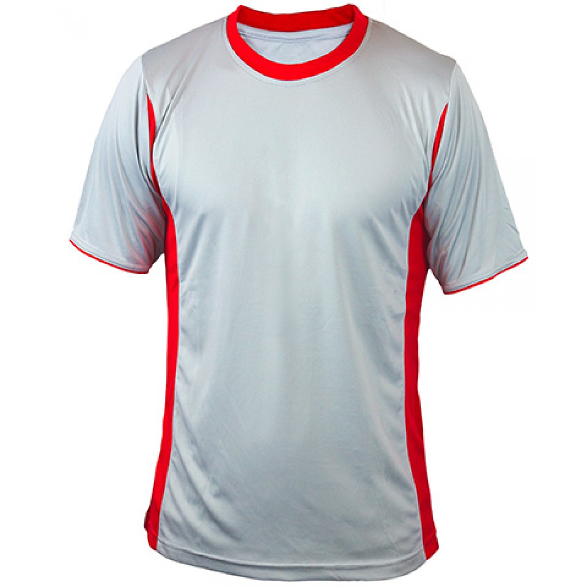 Gray Short Sleeves Performance With Red Side Insert-Gray/Red-XL