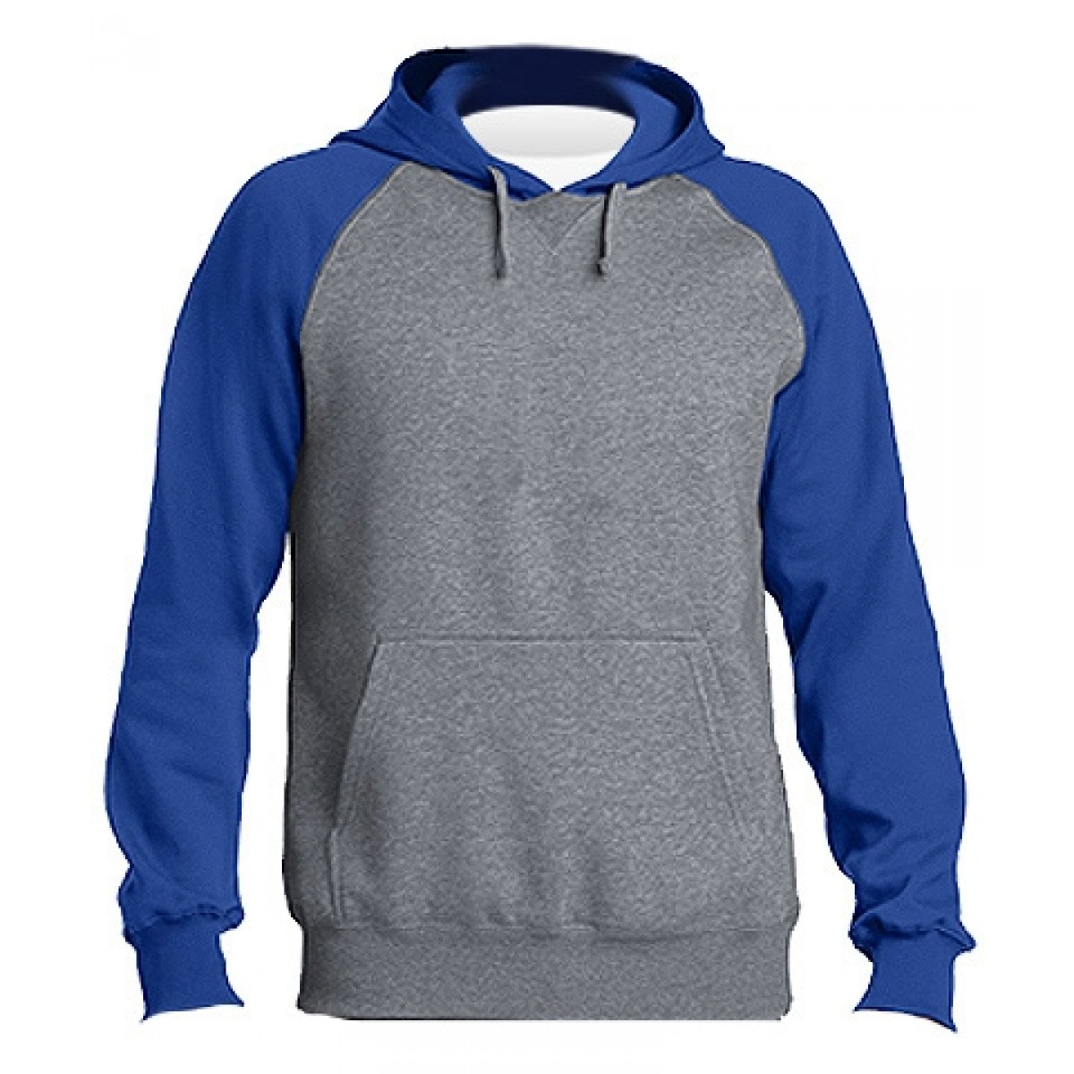 Raglan Colorblock Hoodie-Heather Royal-2XL