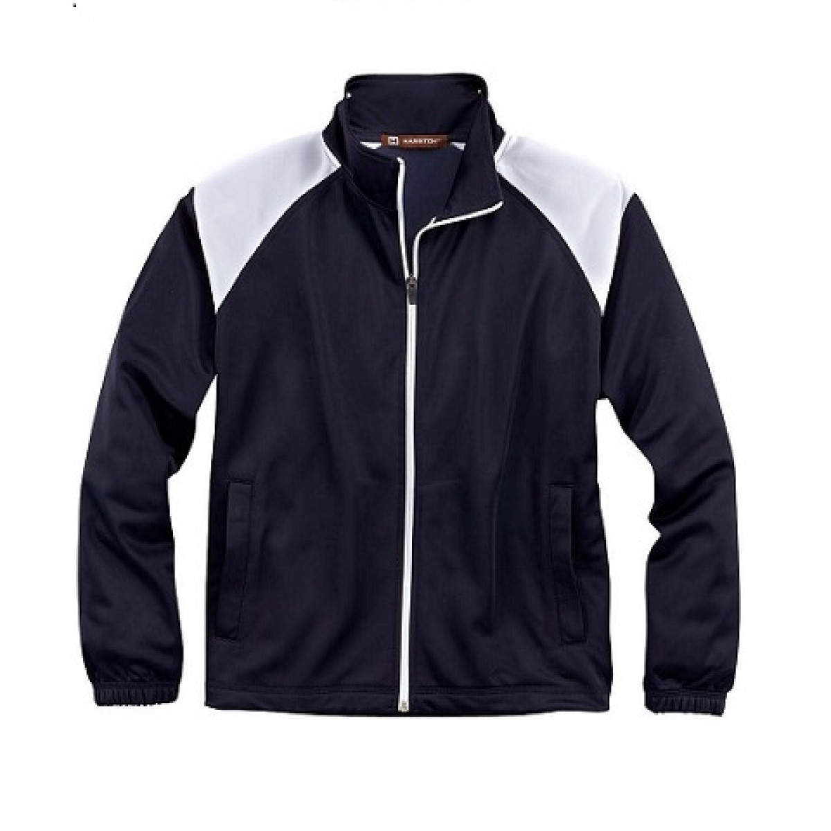 Embroidered Navy Tricot Track Jacket-Navy-2XL