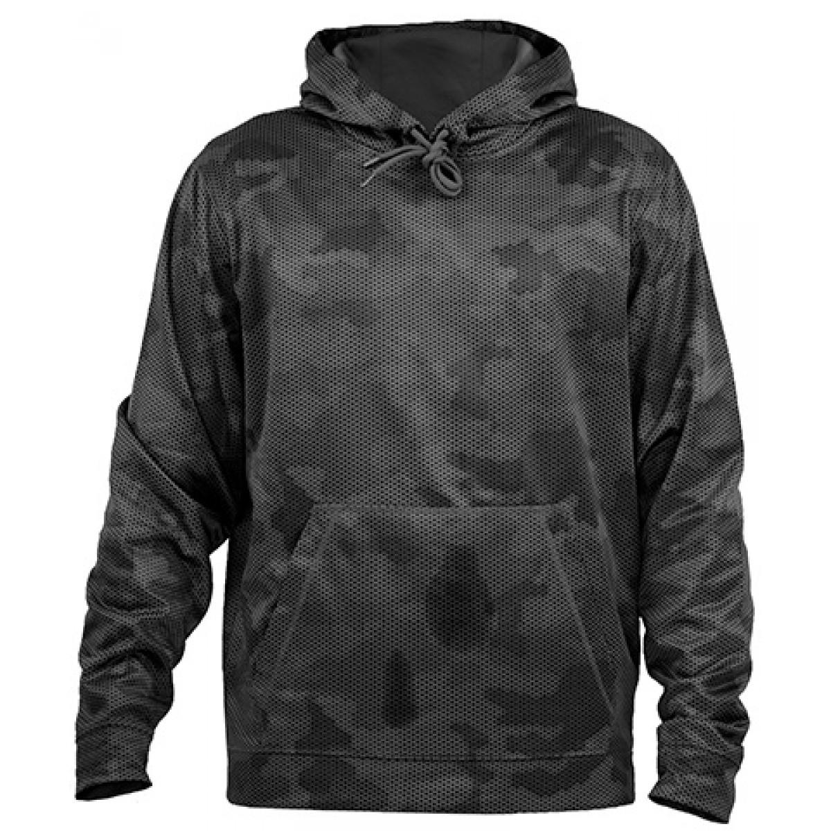 Sport-Tek® Sport-Wick® CamoHex Fleece Hooded Pullover-Black-XL