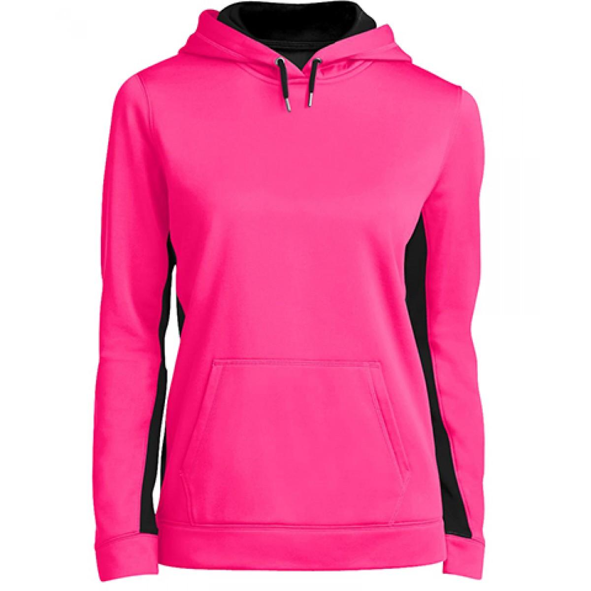Ladies Colorblock Hooded Pullover-Neon Pink Black-2XL
