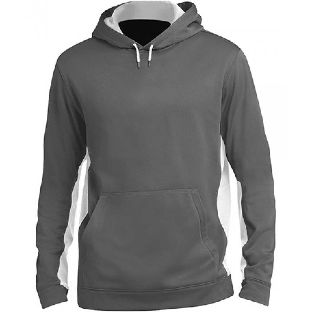 Fleece Colorblock Hooded Pullover-White-XL