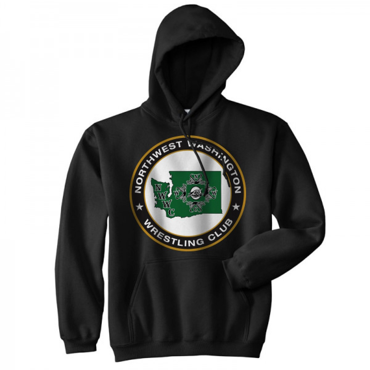 NWWC Black Hoodie With Green Logo-Black-S