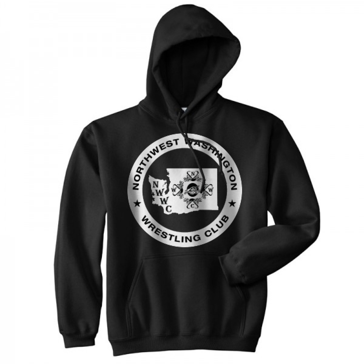 NWWC black hoodie with the logo in white
