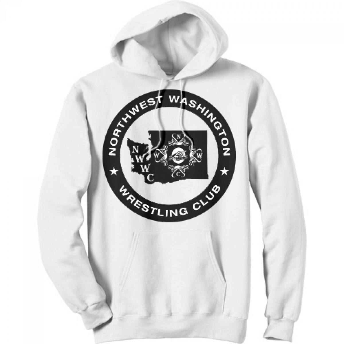 NWWC white hoodie with the main logo in black