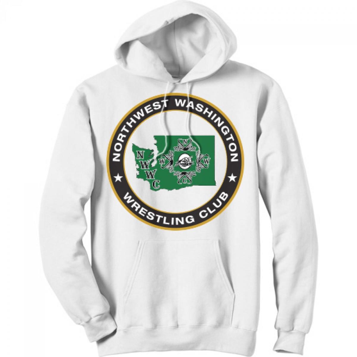 NWWC White Hoodie With Green Logo-White-YL