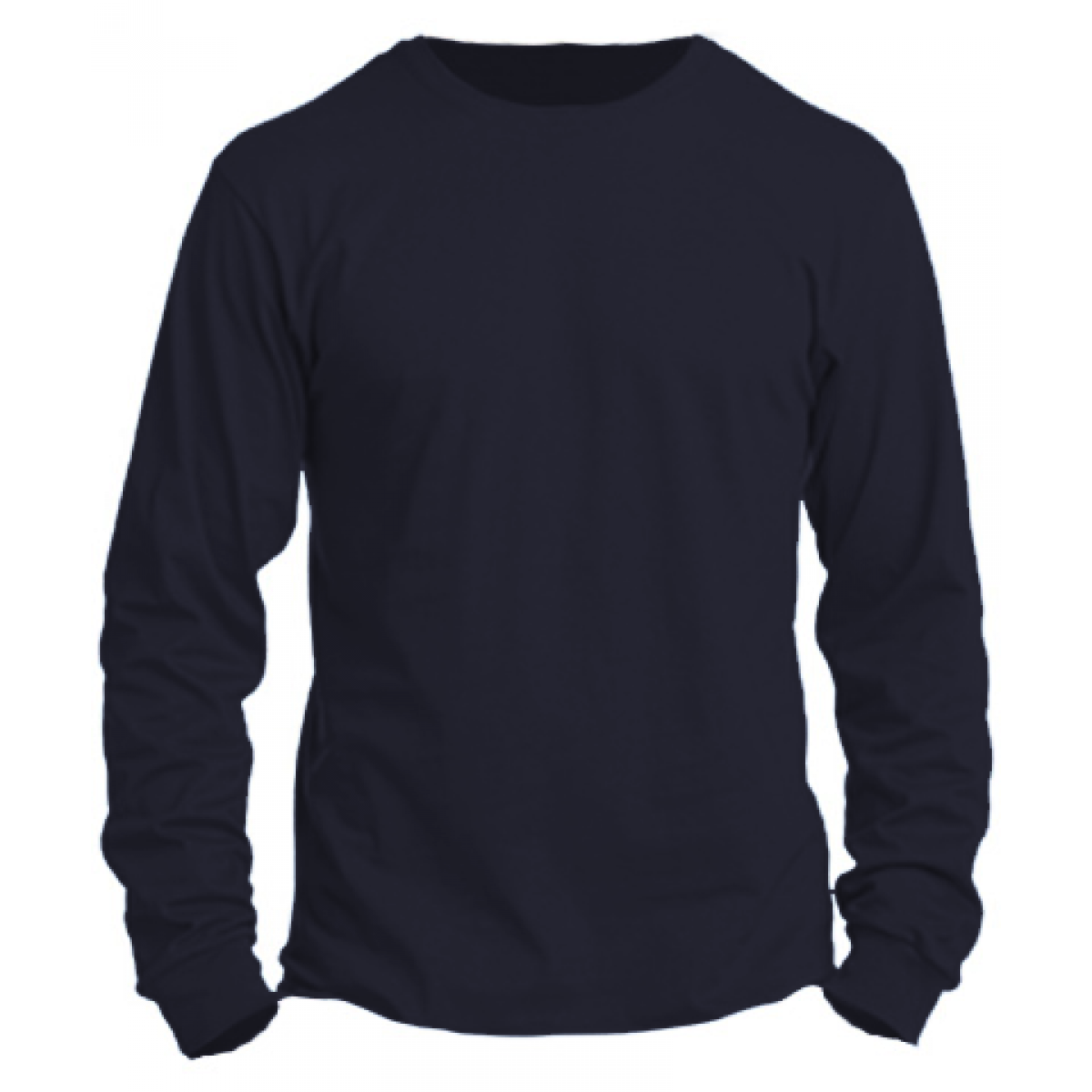 Basic Long Sleeve Crew Neck -Heather Navy-M