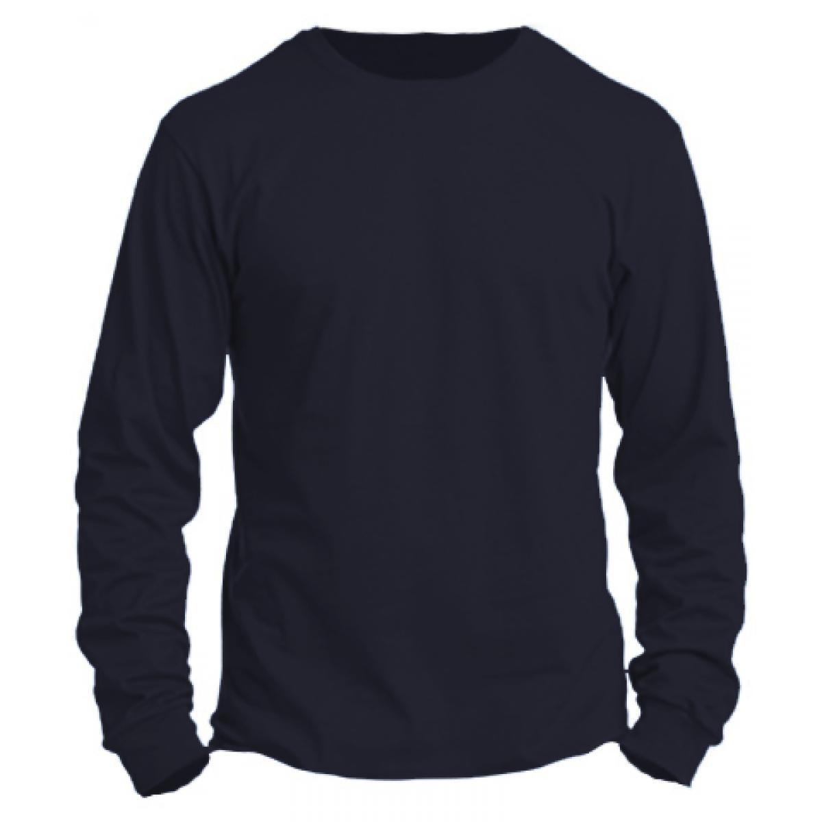 Basic Long Sleeve Crew Neck -Heather Navy-2XL
