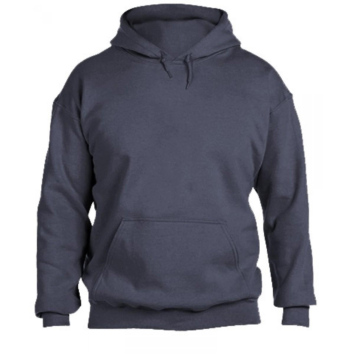 Solid Hooded Sweatshirt  50/50 Heavy Blend-Heather Navy-M
